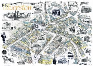 Ulverston Illustrated Map, produced by Ulverston Town Council. Features Peter Winston as Town Crier.