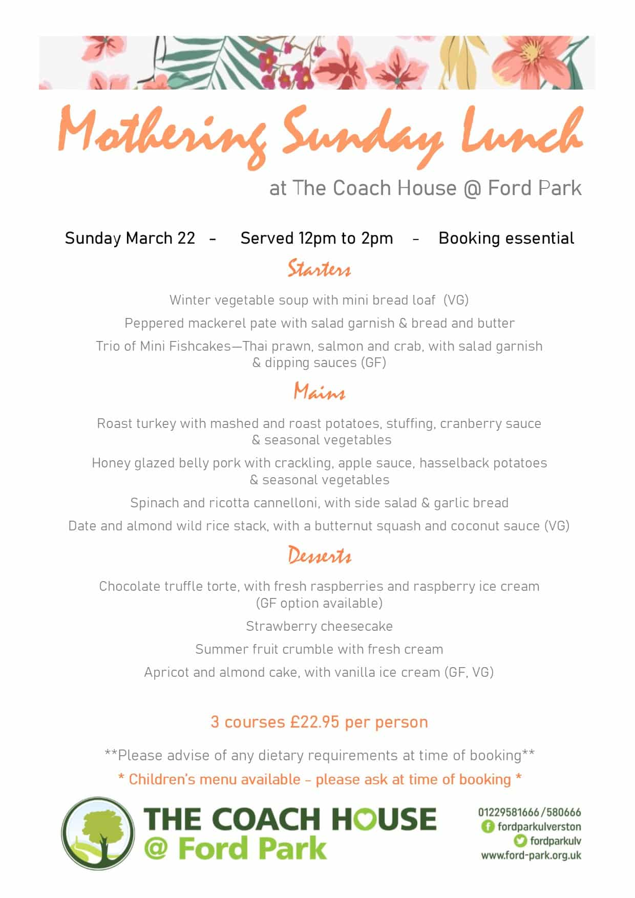 Mothering Sunday Lunch 1