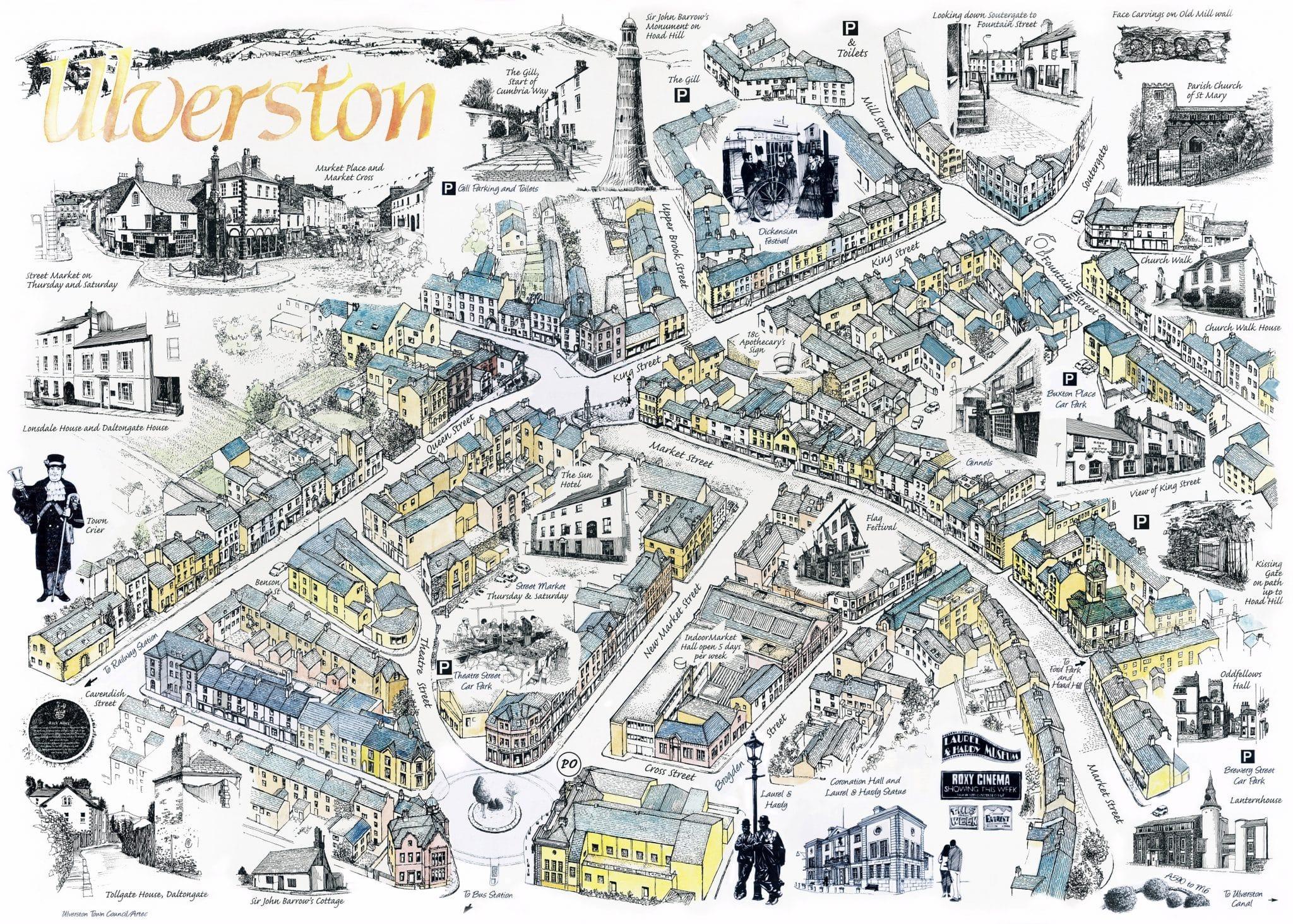 Ulverston illustrated map