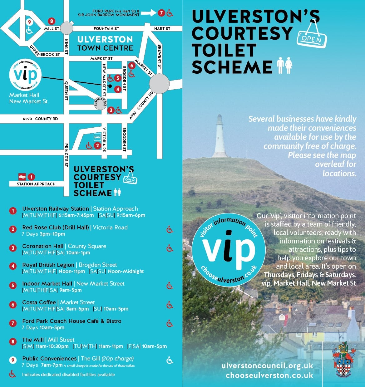 Ulverston's Courtesy Toilets Scheme. Map and list of toilet opening times, and disabled access.